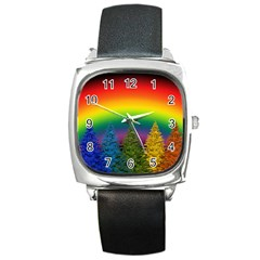 Christmas Colorful Rainbow Colors Square Metal Watch