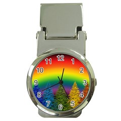 Christmas Colorful Rainbow Colors Money Clip Watches