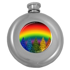 Christmas Colorful Rainbow Colors Round Hip Flask (5 Oz) by BangZart