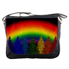 Christmas Colorful Rainbow Colors Messenger Bags by BangZart