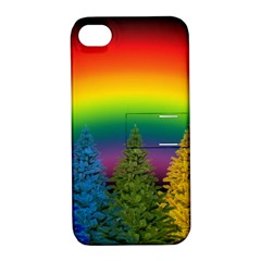 Christmas Colorful Rainbow Colors Apple Iphone 4/4s Hardshell Case With Stand