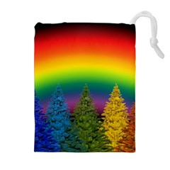 Christmas Colorful Rainbow Colors Drawstring Pouches (extra Large)