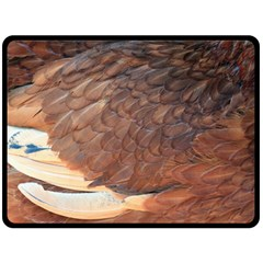 Feather Chicken Close Up Red Double Sided Fleece Blanket (large)