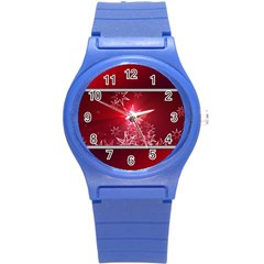 Christmas Candles Christmas Card Round Plastic Sport Watch (s)