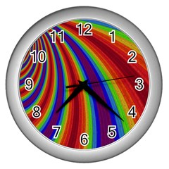 Abstract Pattern Lines Wave Wall Clocks (silver)