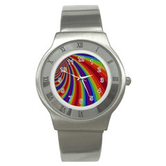Abstract Pattern Lines Wave Stainless Steel Watch
