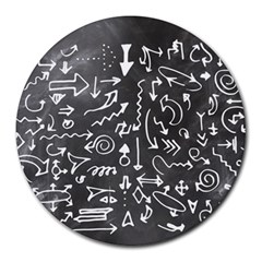 Arrows Board School Blackboard Round Mousepads by BangZart