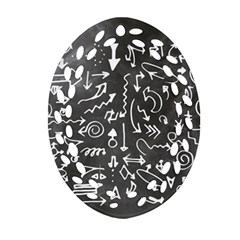 Arrows Board School Blackboard Oval Filigree Ornament (two Sides)