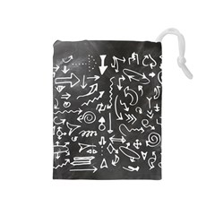 Arrows Board School Blackboard Drawstring Pouches (medium)