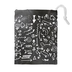 Arrows Board School Blackboard Drawstring Pouches (extra Large)