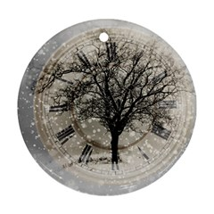 Snow Snowfall New Year S Day Ornament (round) by BangZart