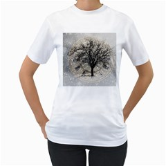 Snow Snowfall New Year S Day Women s T Shirt (white) (two Sided)