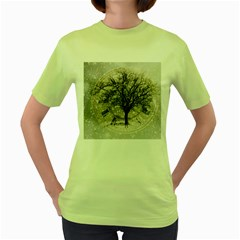 Snow Snowfall New Year S Day Women s Green T Shirt