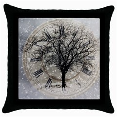 Snow Snowfall New Year S Day Throw Pillow Case (black) by BangZart