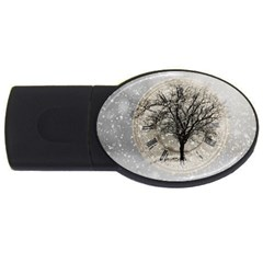 Snow Snowfall New Year S Day Usb Flash Drive Oval (2 Gb) by BangZart