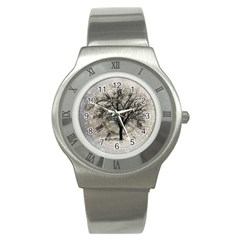 Snow Snowfall New Year S Day Stainless Steel Watch by BangZart