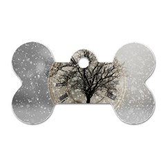 Snow Snowfall New Year S Day Dog Tag Bone (one Side) by BangZart