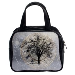 Snow Snowfall New Year S Day Classic Handbags (2 Sides) by BangZart