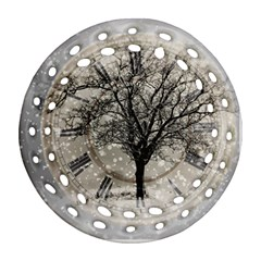 Snow Snowfall New Year S Day Round Filigree Ornament (two Sides)