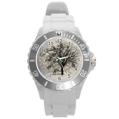 Snow Snowfall New Year S Day Round Plastic Sport Watch (l)