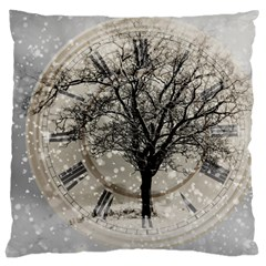 Snow Snowfall New Year S Day Large Cushion Case (two Sides) by BangZart