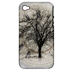 Snow Snowfall New Year S Day Apple Iphone 4/4s Hardshell Case (pc+silicone)