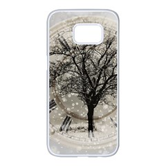 Snow Snowfall New Year S Day Samsung Galaxy S7 Edge White Seamless Case