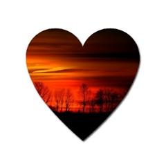 Tree Series Sun Orange Sunset Heart Magnet