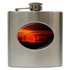 Tree Series Sun Orange Sunset Hip Flask (6 Oz)