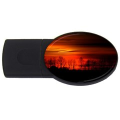 Tree Series Sun Orange Sunset Usb Flash Drive Oval (2 Gb) by BangZart