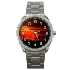 Tree Series Sun Orange Sunset Sport Metal Watch
