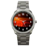 Tree Series Sun Orange Sunset Sport Metal Watch Front