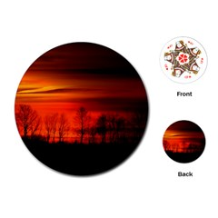 Tree Series Sun Orange Sunset Playing Cards (round)