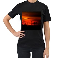 Tree Series Sun Orange Sunset Women s T Shirt (black)