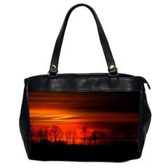 Tree Series Sun Orange Sunset Office Handbags (2 Sides)
