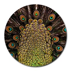 Peacock Feathers Wheel Plumage Round Mousepads