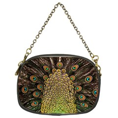 Peacock Feathers Wheel Plumage Chain Purses (two Sides)