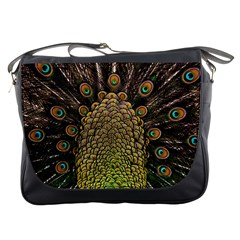 Peacock Feathers Wheel Plumage Messenger Bags by BangZart