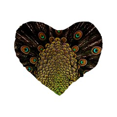 Peacock Feathers Wheel Plumage Standard 16  Premium Heart Shape Cushions by BangZart