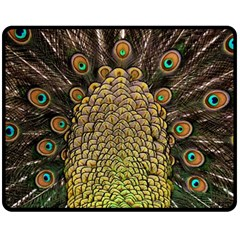 Peacock Feathers Wheel Plumage Double Sided Fleece Blanket (medium)
