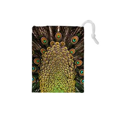 Peacock Feathers Wheel Plumage Drawstring Pouches (small)