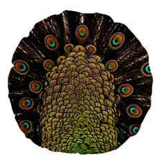 Peacock Feathers Wheel Plumage Large 18  Premium Flano Round Cushions