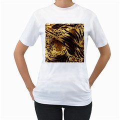 Pattern Tiger Stripes Print Animal Women s T Shirt (white) (two Sided)