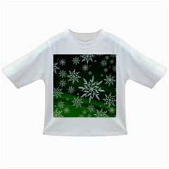 Christmas Star Ice Crystal Green Background Infant/toddler T Shirts