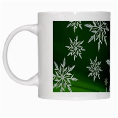 Christmas Star Ice Crystal Green Background White Mugs