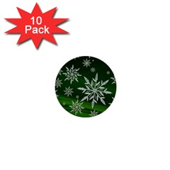 Christmas Star Ice Crystal Green Background 1  Mini Buttons (10 Pack)