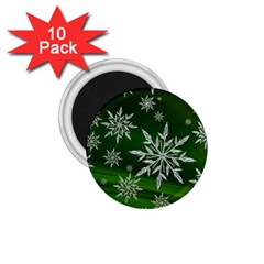 Christmas Star Ice Crystal Green Background 1 75  Magnets (10 Pack)