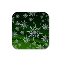 Christmas Star Ice Crystal Green Background Rubber Square Coaster (4 Pack)  by BangZart