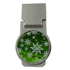 Christmas Star Ice Crystal Green Background Money Clips (round)  by BangZart