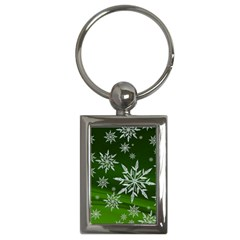 Christmas Star Ice Crystal Green Background Key Chains (rectangle)
